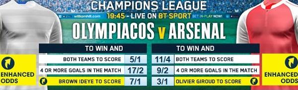 Olympiakos v Arsenal price boost