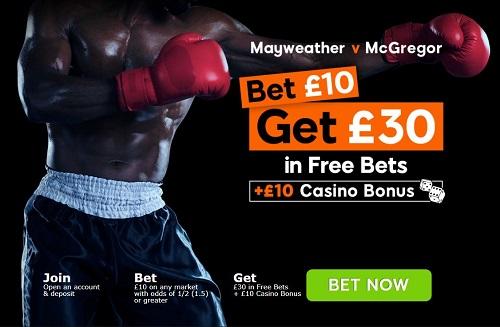 Mayweather vs McGregor Free Bet
